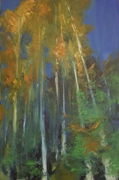 sacred forest japan oil painting by Colleen Joy