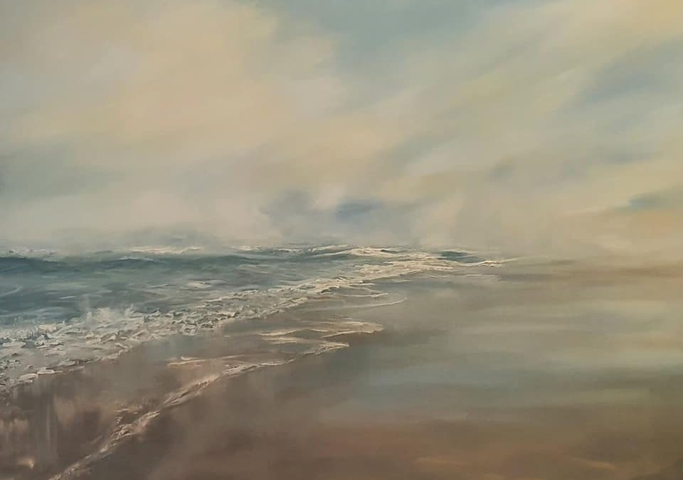 oil painting by Colleen-Joy of misty beach
