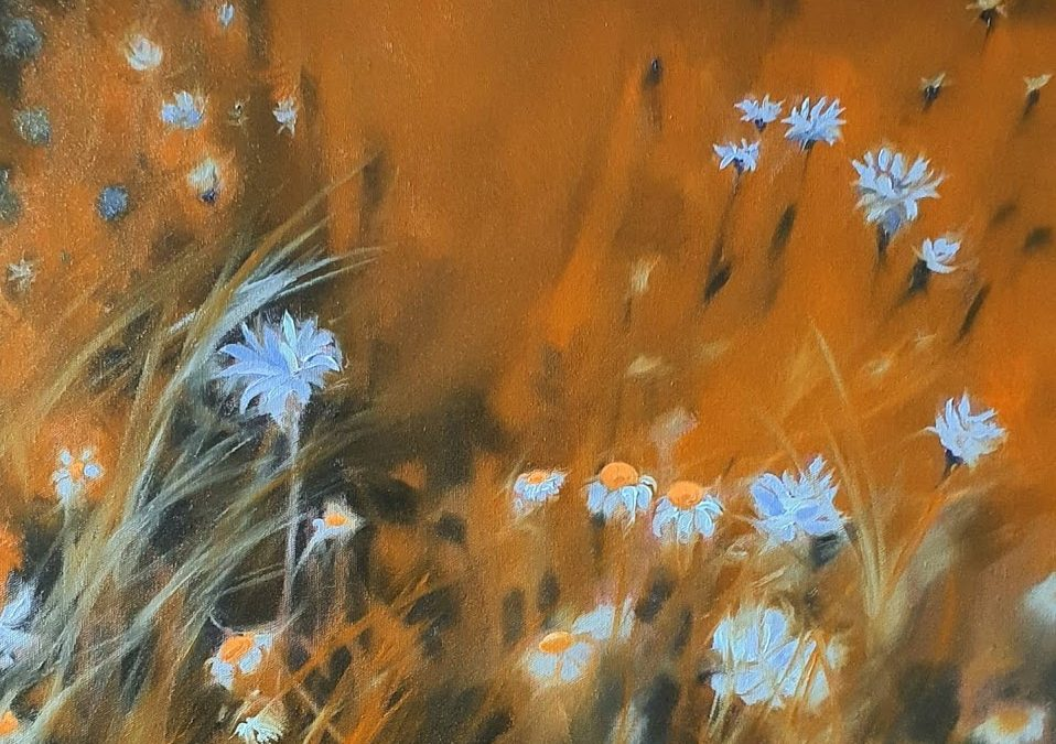 Blue flowers oil painting to meditate to