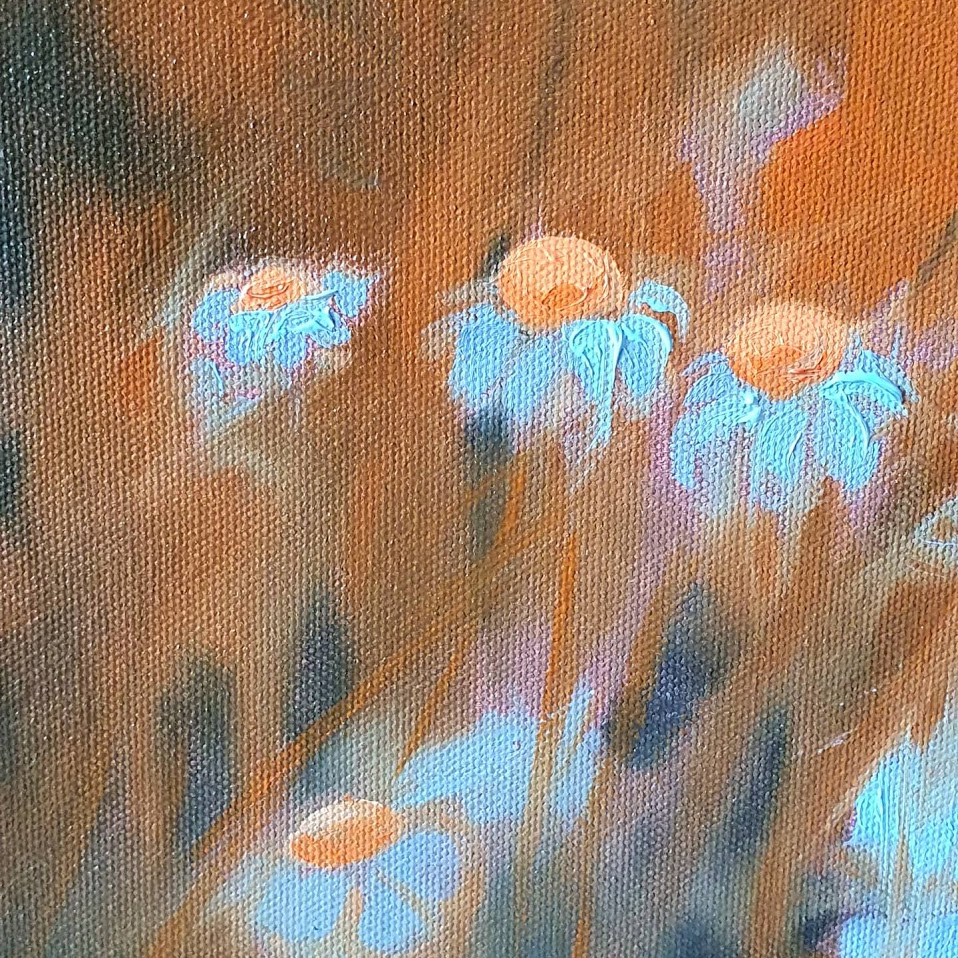 oil painting wild flowers non dual art close up
