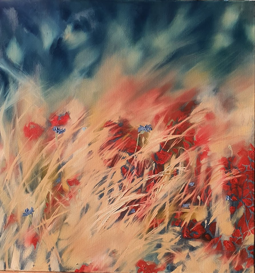 oil painting wild poppies non dual art